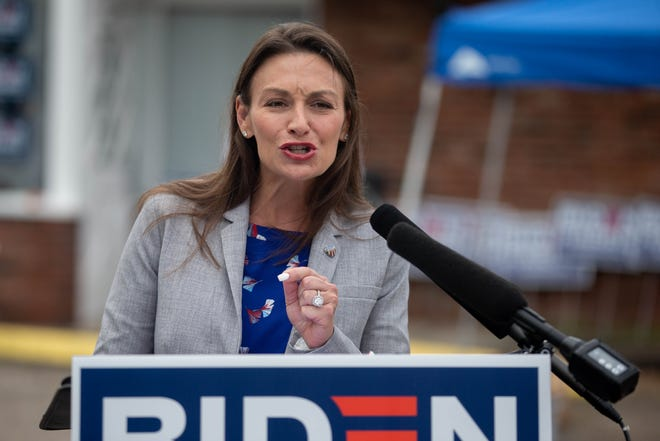 """Agriculture Commissioner Nikki Fried speaks at the """"Ridin' with Biden"""" event at the campaign's new """"victory center"""" located at 428 West Tennessee Street Wednesday, Oct. 7, 2020."""