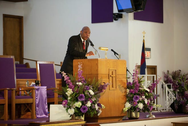 Rev. R.B. Holmes gives his sermon during service at Bethel Missionary Baptist Church Sunday, Oct. 4, 2020.