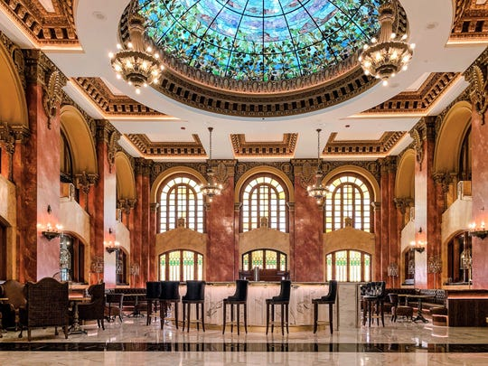 The renovated Hotel Paso del Norte features a 25-foot, stained-glass dome in its Dome bar. The 351-room hotel in Downtown El Paso is scheduled to open Oct. 8 after more than three years of renovation.