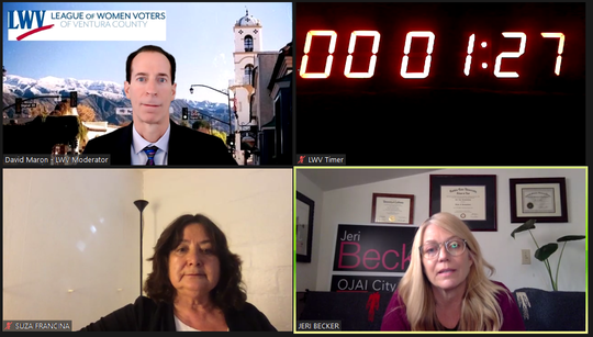 This screenshot shows a virtual candidate forum for Ojai City Council candidates Suza Francina, bottom left, and Jeri Becker, right, moderated by David Maron, of the Ventura County League of Women Voters.