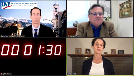 The Ventura County League of Women Voters held a virtual forum on Tuesday for Ojai mayoral candidates William Weirick, top right, and Betsy Stix. The league's David Maron moderated the event.