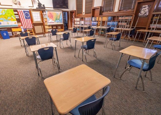 A classroom at Redwood High School.