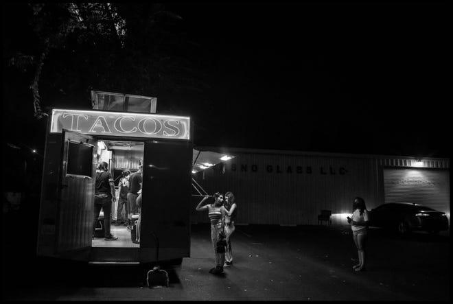 Fresno scene at night.