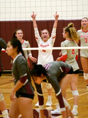 Sheridan's Kaley McCandlish celebrates a point against John Glenn in a match earlier this season. The Generals received the top seed in Division II in the Southeast District, as tournament draws for soccer and volleyball were held on Sunday.