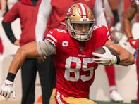 After missing two games with a sprained knee, the 49ers' George Kittle returned with a vengeance in Week 4, catching 15 passes for 183 yards and a touchdown.