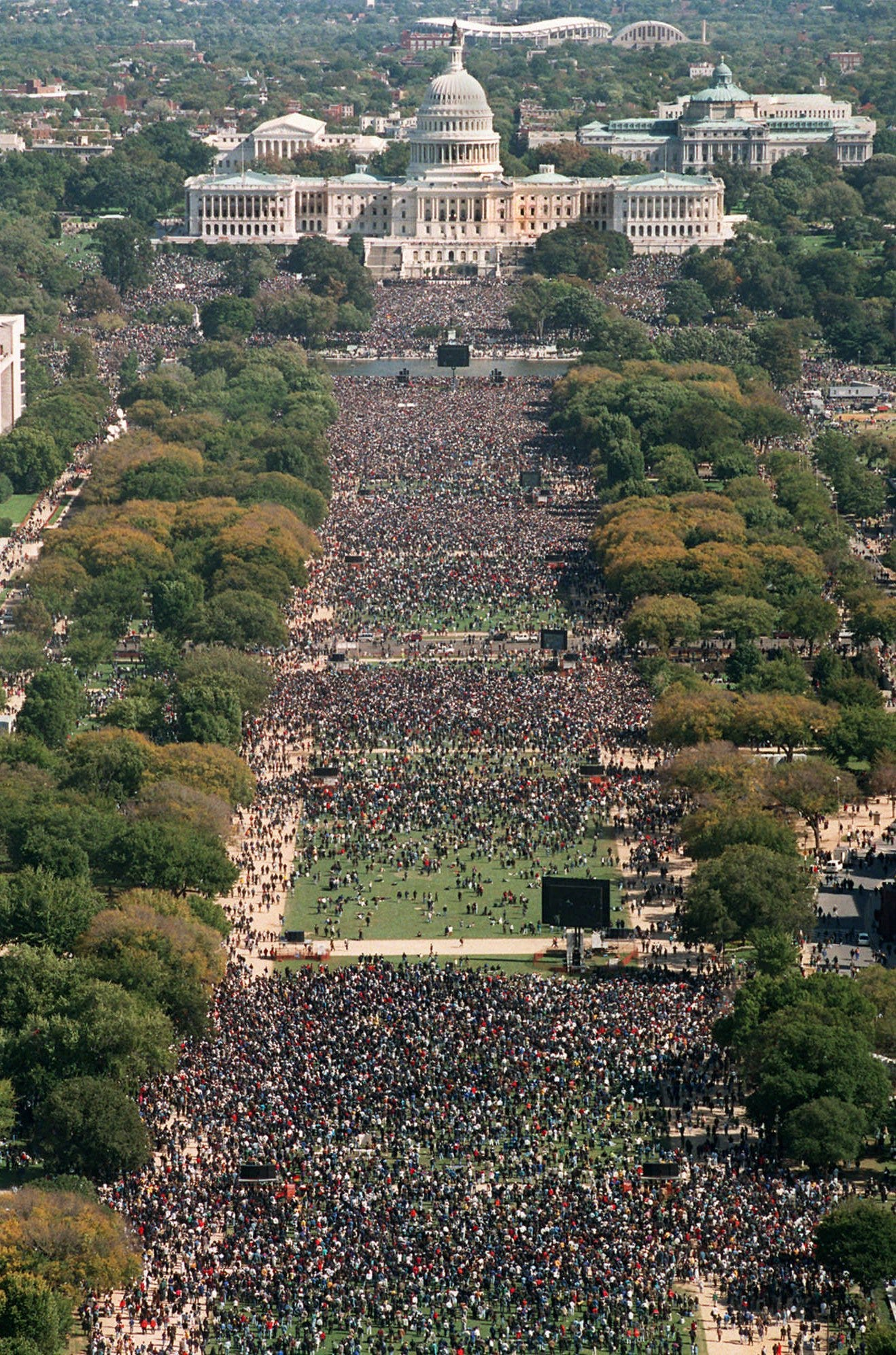 In this file photo from Oct. 16, 1995, the view from the Washington Monument toward the Capitol shows the participants in the Million Man March in Washington.