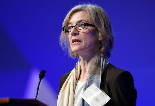 In this Dec. 1, 2015, file photo, Jennifer Doudna, a University of California, Berkeley, co-inventor of the CRISPR gene-editing tool that He Jiankui used, speaks at the National Academy of Sciences international summit on the safety and ethics of human gene editing, in Washington. The 2020 Nobel Prize for chemistry has been awarded to Emmanuelle Charpentier and Jennifer Doudna for the development of a method for genome editing.