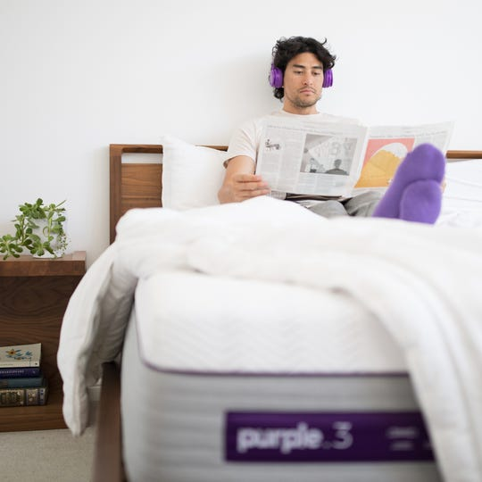 A Purple brand mattress.