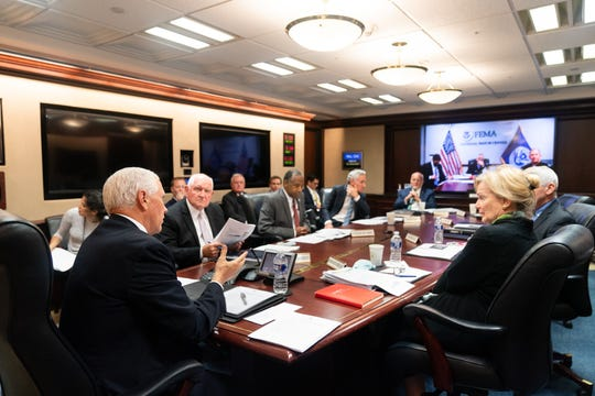Vice President Mike Pence meets with members of the White House Coronavirus Task Force Tuesday, Sept. 29, 2020, in the White House Situation Room.