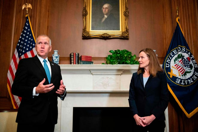 North Carolina Sen. Thom Tillis Sen. Thom Tillis, R-North Carolina, said Friday, Oct. 2, 2020 that they had tested positive for the virus. Sen. Thom Tillis attended a ceremony for Barrett at the White House on Sept. 25 with President Donald Trump.