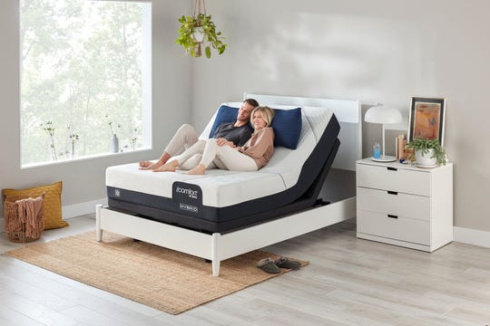Beds with adjustable bases, like this Serta iComfort mattress, are growing in popularity.