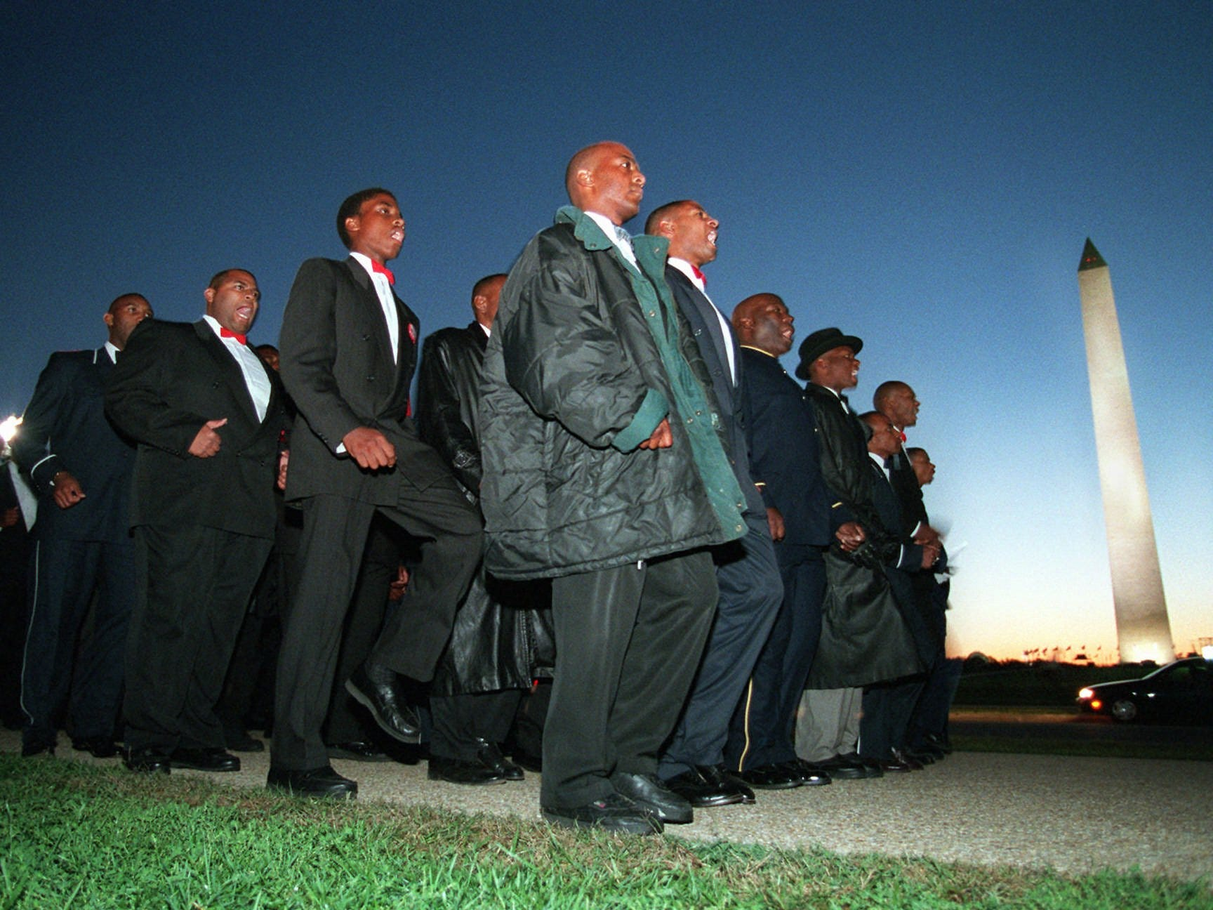 In this Monday, Oct. 16, 1995 file photo, members of the Nation of Islam march toward the Capitol in Washington.