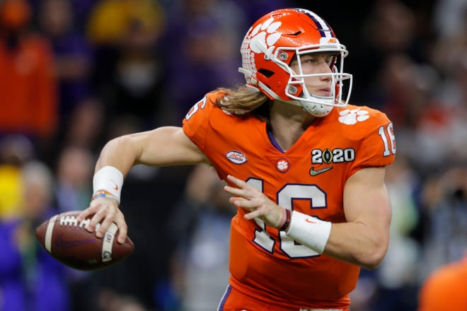 Clemson quarterback Trevor Lawrence passes against LSU during the second half of the College Football Playoff national championship game Jan. 13, 2020, in New Orleans.