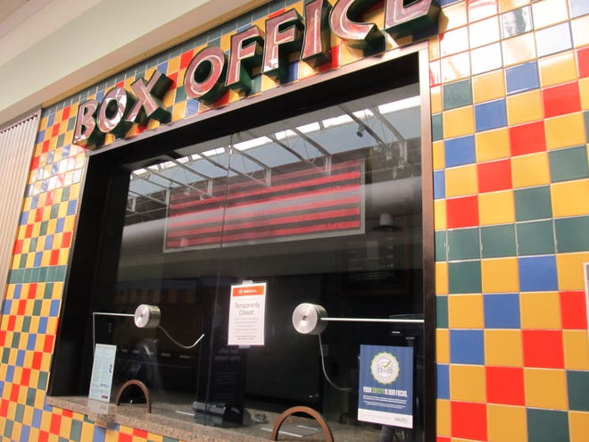 The box office of Regal Bartlesville, located inside Washington Park Mall, displays a 'Temporarily Closed' sign following Regal's Oct. 5 announcement all 536 U.S. locations would close until further notice.