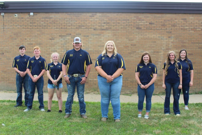 Recently, the Union Local High School elected FFA officers. They are, l to r, Franklin Saffell, treasurer; Rylan Luyster, chaplain; Chyenne Dallas, reporter; Colten Luyster, vice president; Faith Galavich, president; Charlee Daughtery, secretary; Megan Garrison, student advisor; and Adreanna Harper, sentinel.
