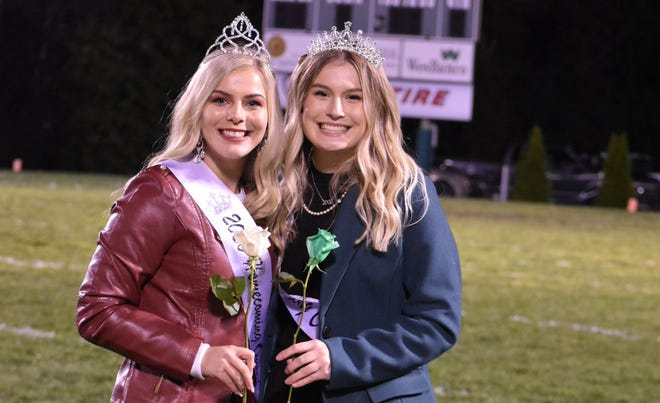 Barnesville High School's Alana Trigg, l, was crowned homecoming queen Friday, Oct. 2, in Barnesville. Olivia Starr, r, is the runner-up.