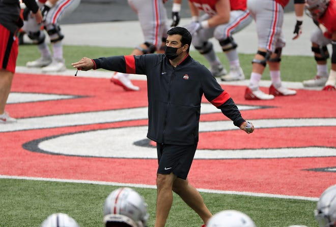 Ohio State football coach Ryan Day directs practice in Ohio Stadium on Oct. 3. Day said this Labor Day was his first without a football season since he was 9 years old.