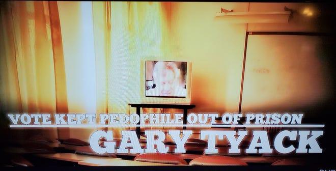 Still from OBrien TV ad attacking Tyack