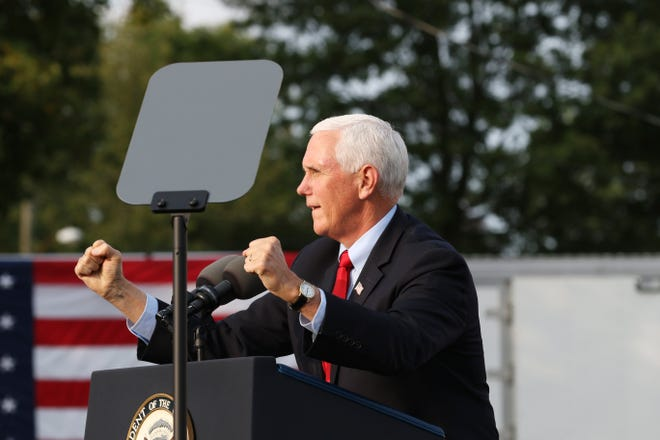 Vice President Mike Pence speaks at the Muskingum County Fairgrounds in Zanesville on Sept. 16.