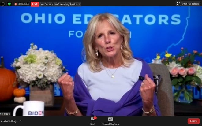 Dr. Jill Biden speaks to Ohio educators during a Zoom meeting on October 8, 2020.