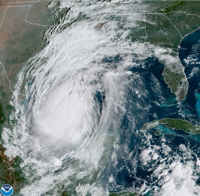 Hurricane Delta churns in the Gulf of Mexico on Thursday. Rainfall from the remnants of Hurricane Delta is expected to arrive in the Cape Fear region on Sunday. However, totals will be light across the region.