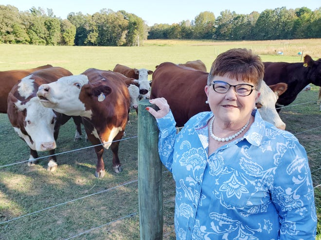 Patty Lookabill raises Hereford cattle on her Arnold Road farm with her husband, Reggie.