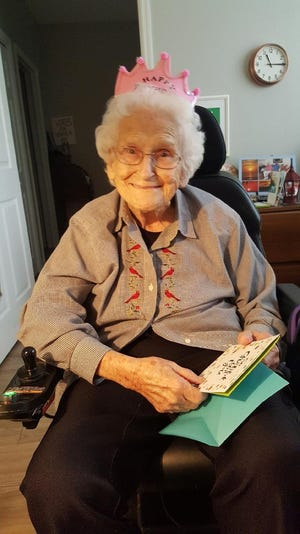 Maxine Bohn, shown celebrating her 100th birthday last year, contracted COVID-19 and ended up at Dolphin Pointe Health Care. But she defied the odds and, after testing negative last week, was able to return to her assisted living facility.
