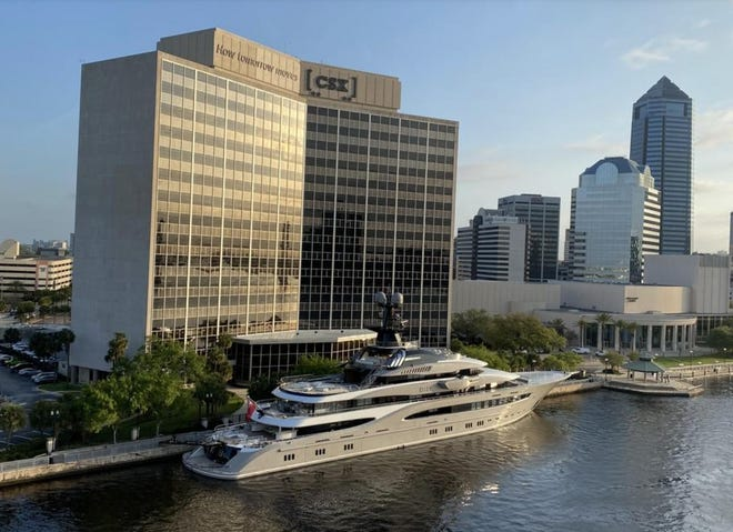 Jaguars owner Shad Khan's yacht Kismet is docked in the St. Johns River in front of Jacksonville-based CSX Transportation headquarters in downtown on Thursday, March 26, 2020.