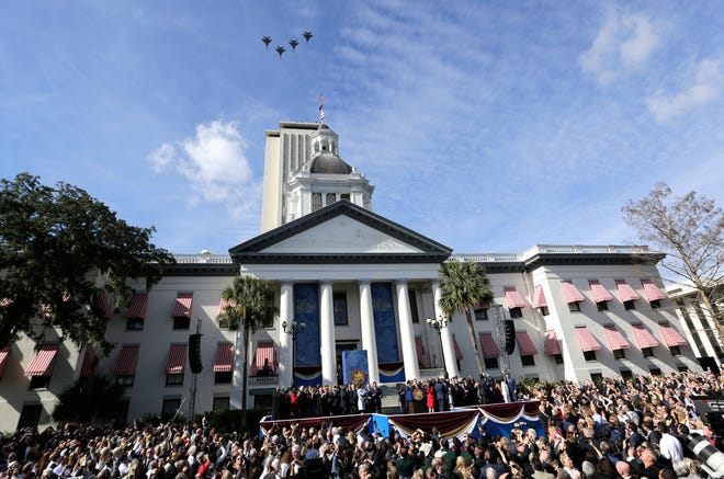 Jets fly over the Old Capitol building during an inauguration ceremony where Ron DeSantis was sworn in as the governor of Florida on Jan. 8, 2019 in Tallahassee.