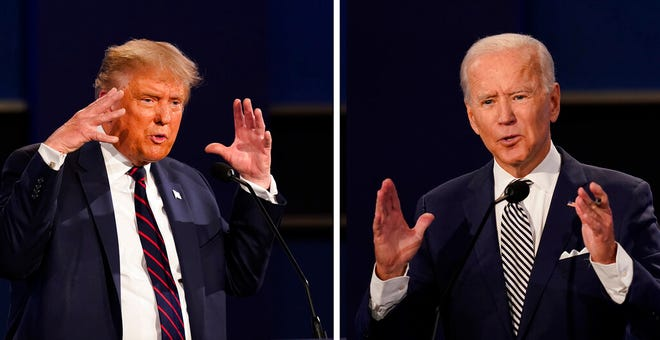 In this combination image of two photos showing both President Donald Trump, left, and former Vice President Joe Biden during the first presidential debate Tuesday, Sept. 29, 2020, at Case Western University and Cleveland Clinic, in Cleveland, Ohio.
