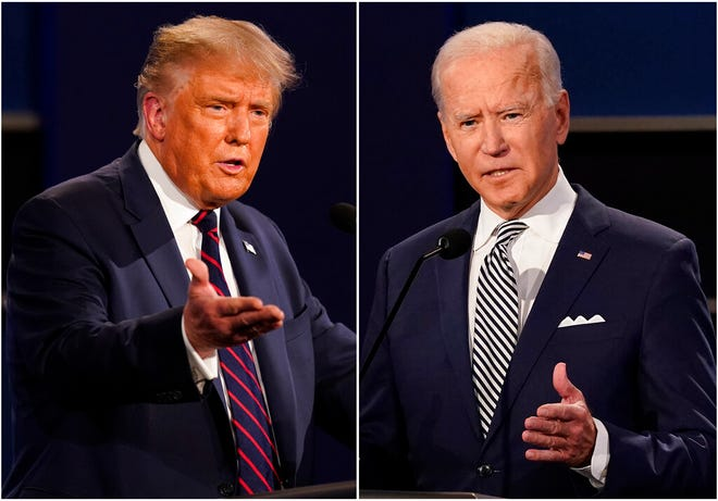 "This combination of Sept. 29 photos shows President Donald Trump, left, and former Vice President Joe Biden during the first presidential debate in Cleveland. The Commission on Presidential Debates says the second Trump-Biden debate will be ""virtual"" amid concerns about the president's COVID-19."
