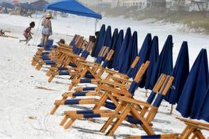 Beach chairs are set up near the Whale's Tail Beach Bar in Grill in Miramar Beach in South Walton County.