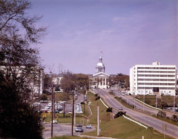 A view down the Apalachee Parkway approach to the Capitol - Tallahassee, Florida