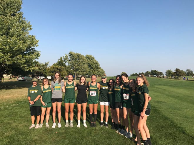 The Pratt High School girls cross country team won first place at Larned two weeks ago (pictured), then took second  overall at their home Pratt meet last Thursday, October 1. This week they are running at Sterling and hoping for continued success.