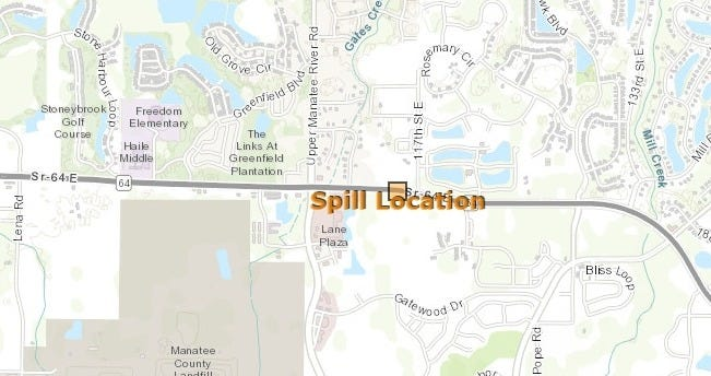 A Florida Department of Environmental Protection map shows the site of a sewage spill in Manatee County on Oct. 5.