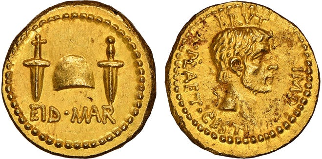 Minted in 42 B.C., most likely in Greece, this rare EID MAR gold coin commissioned by Marcus Brutus commemorates the assassination of Julius Caesar two years earlier. PROVIDED BY NGC
