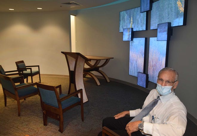 Chaplain Michael Bostian, director of Pastoral Care at CarolinaEast Regional Medical Center, is proud of the new chapel at the SECU Comprehensive Cancer Center.