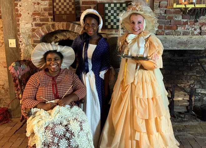 Cynthia Evans-Robinson, Deborah Robinson and Cindi Broome are part of a Ghostwalk tale 'Chimney Sweep Sailor.' The script was written by Tryon Palace Living History Program Coordinator Matt Arthur.
