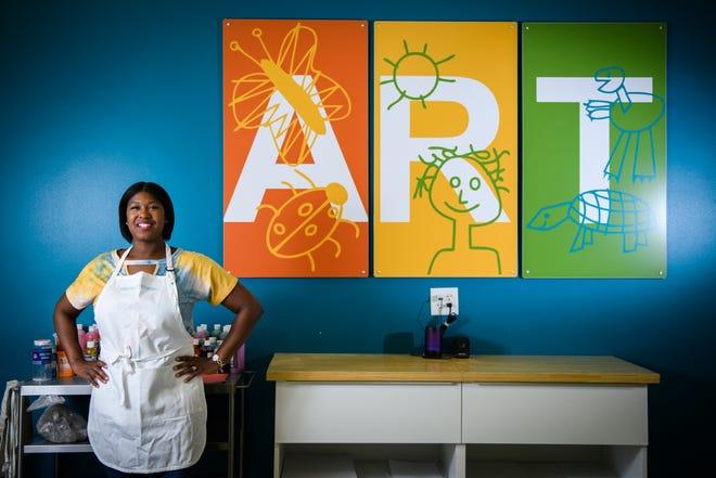 Army veteran Makeeka Harris runs Kidcreate art studio in the Westwood Shopping Center.