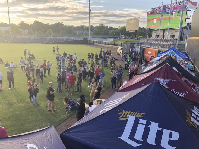 Guests take to the field at the 2019 Pecktoberfest. [CONTRIBUTED PHOTO]
