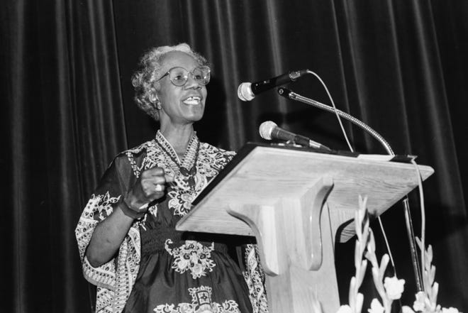 Shirley Chisholm speaks at Fayetteville State University on Aug.15, 1986. In 1968, she became the first black woman elected to the United States Congress, representing New York's 12th congressional district for seven terms from 1969 to 1983. She also ran for U.S. president.