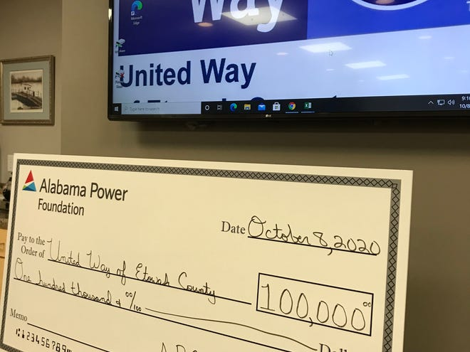 United Way of Etowah County received a $100,000 grant from the Alabama Power Company Foundation that will help to offset financial challenges the nonprofit and its member agencies face this year.