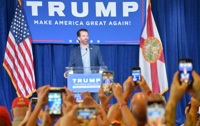 More than 100 people gathered at the Holiday Inn Resort in Panama City Beach on Thursday for a rally with Donald Trump Jr.