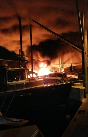 A fire on a vessel in the Port Orchard Marina on Oct. 7, 2020, destroyed a 27-foot tug-style yacht. Boats on either side had some damage, a boat two slips away had minor damage and there was fire damage to the marina's metal roof. No one was aboard the tug-yacht when the fire occurred. No one was injured.