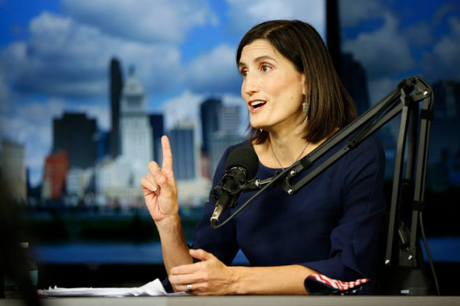 Challenger Kate Schroder speaks during a debate hosted at The Enquirer Studio in downtown Cincinnati on Thursday, Oct. 8, 2020. Ohio's 1st Congressional District race features veteran Republican incumbent Steve Chabot against Democratic challenger Kate Schroder.