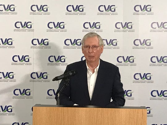 U.S. Sen. Mitch McConnell during a press conference Thursday at the CVG Centre