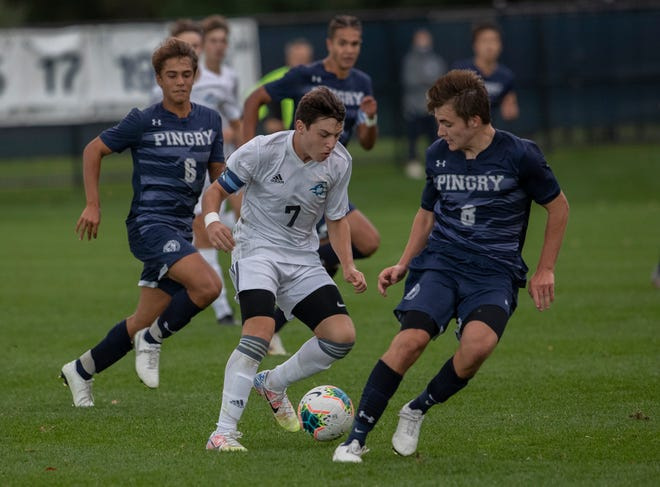 Gill St. Bernards boys soccer edges out Pingry 2-1 in Basking Ridge NJ on October 7, 2020.