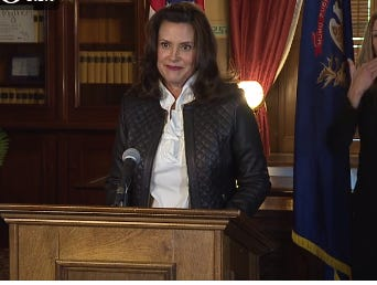 Gretchen Whitmer appears at a press conference on Oct. 8, 2020.