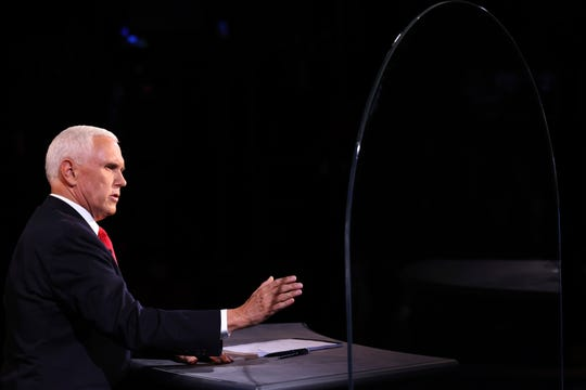 Vice President Mike Pence speaks during the vice presidential debate Wednesday, Oct. 7, 2020, at Kingsbury Hall on the campus of the University of Utah in Salt Lake City.