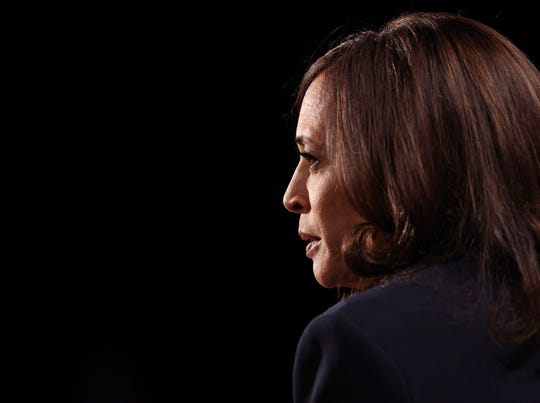 Democratic vice presidential candidate Sen. Kamala Harris, D-Calif., listens during the vice presidential debate Wednesday, Oct. 7, 2020, at Kingsbury Hall on the campus of the University of Utah in Salt Lake City.